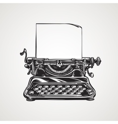 Vintage mechanical typewriter sketch vector