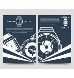 Watch brochure flyers template set vector image