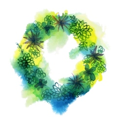 Watercolor succulent wreath vector image
