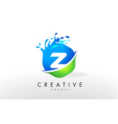 Z letter logo blue green splash design vector