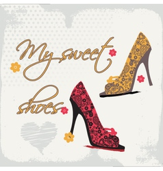 little shoes card vector image