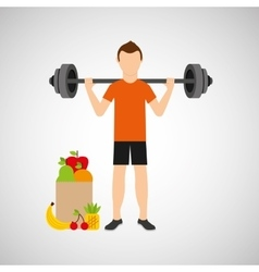 Man heavy barbell exercising bag health food vector