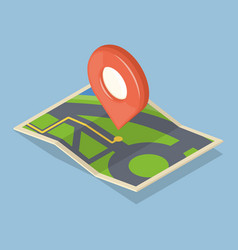 Red pointer on map gps navigation concept icon vector