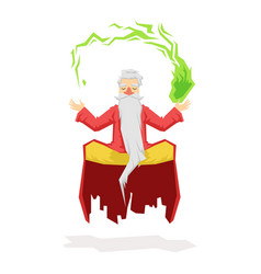Levitating magician with a magic ball colorful vector