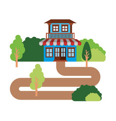 white background with natural landscape and house vector image
