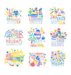 Happy kid holiday happy new year logo template vector