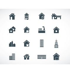 Black building icons set vector