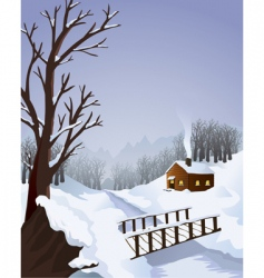 Winter landscape with cottage vector