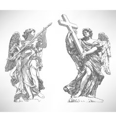 Digital drawing marble statue of two angels vector