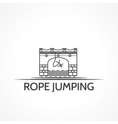 With black line icon and text for rope jumping vector