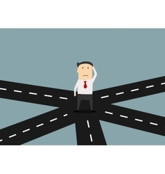 Businessman on crossroad choosing direction vector image
