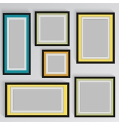 Wooden square picture frames color rainbow set for vector
