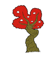 Comic cartoon twisted old tree vector