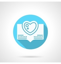 Round blue love greeting flat icon vector
