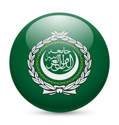 Round glossy icon of arab league vector