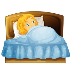 Girl feeling sleepy in bed vector image