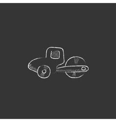 Road roller drawn in chalk icon vector