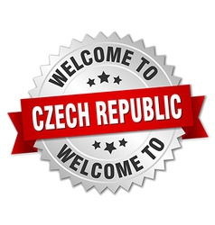 Czech republic 3d silver badge with red ribbon vector