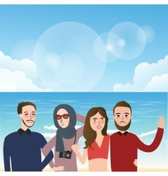 Friends taking picture together wearing veil fun vector
