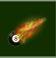 black billiard ball on fire flame vector image vector image