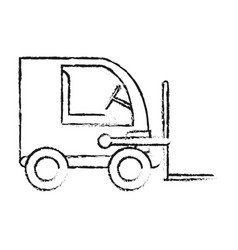 Blurred silhouette cartoon forklift truck with vector