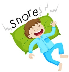 Boy in bed snoring vector image