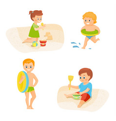 children on vacation vector image