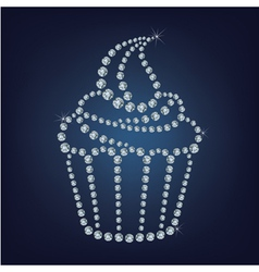 Cupcake made up a lot of diamonds vector image vector image