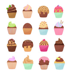 delicious cupcakes and muffins cartoon set vector image vector image