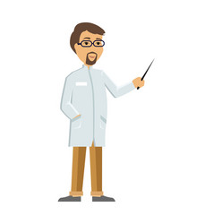 Doctor or scientist in white coat flat vector