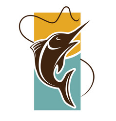 Fishing time logo template fish catch on rod hook vector