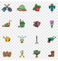 Garden set icons vector image