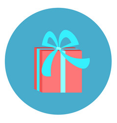 gift box icon web button on round blue background vector image