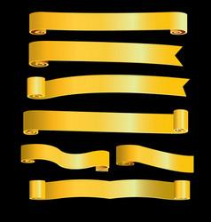 Gold ribbon banner image vector