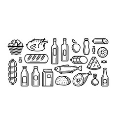 grocery store food and drinks icons set vector image vector image