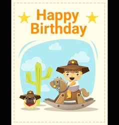 Happy birthday card with little boy and friend 4 vector image