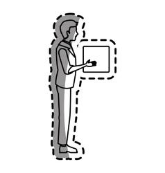 Isolated man cartoon with box design vector