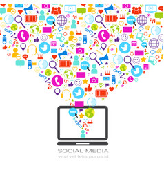Laptop computer with social media icons on white vector