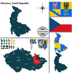 map of olomouc czech republic vector image vector image
