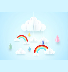 paper art concept rainy and cloud with rainbow vector image vector image