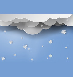 paper art of snow with winter season blue sky vector image vector image