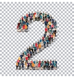 People number alphabet 3d vector image