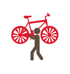 Person with bicycle in his hands and shoulder vector