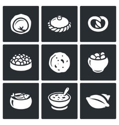 Russian traditional cuisine icons set vector image vector image