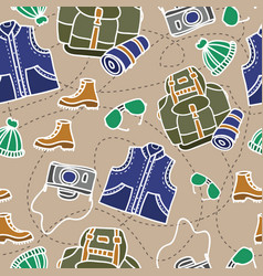 Seamless pattern of camping equipment white vector