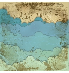 Sky clouds grunge vintage vector