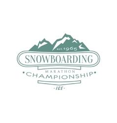 Snowboarding championship emblem design vector