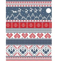 Tall Xmas pattern Santa sleigh reindeer mountains vector image