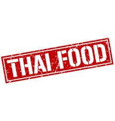Thai food square grunge stamp vector