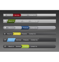 vector menu in black and gray color vector image vector image